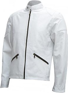 Leatherly Cafe Racer White Leather Jacket Mens - Annan