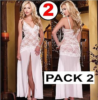 Pack Of 2 Night Dress Lace Nightgown With Penty Long Nightwear Nighty For Sleep…