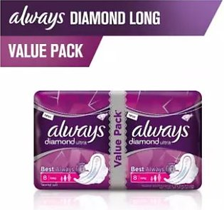 Always Diamonds Ultra Thin Sanitary Pads, Long, Value Pack (One Day Delivery ...