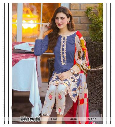 Mb 1400 Latest PAKISTANI DRESS Mid Summer and winter LADIES 2 PIECE Linen Collection UNSTITCTED Suit