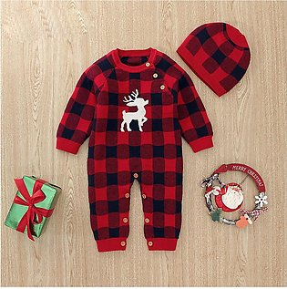 Newborn Baby Boy Winter Christmas Xmas Deer Knitted Jumpsuit Romper Warm Hat Set