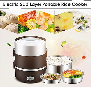 2pcs 2L Portable Lunch Box Mini Rice Cooker Steamer 3 Layer Stainless Steel