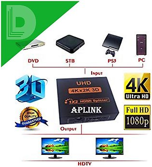 1-In 2-Out HDMI Splitter UHD 4K x 2K 3D with 3pin Power Adaptor
