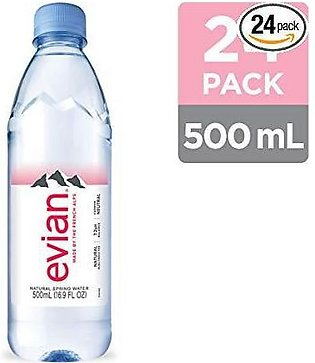PACK OF 24 : EVIAN NATURAL MINERAL WATER 500 ML