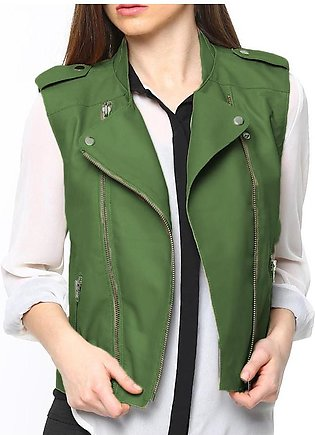 Green Ladies Leather Jacket For Women