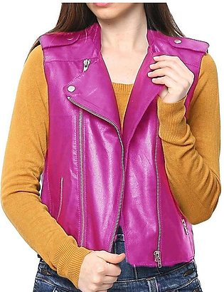 Pink Ladies Leather Jacket For Women