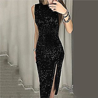 Women Sleeveless Sequin Bodycon Party Maxi Dress Wedding Prom Formal Dress