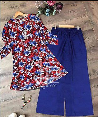 Stylish 2pc Linen Printer Trouser And Shirt