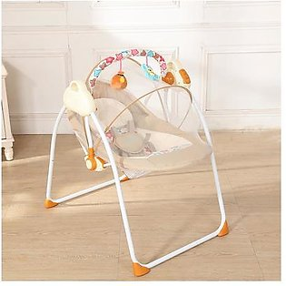 Electric Baby Cradle Swing Rocking Connect Mobile Play Music Chair Sleeping Basket Bed Crib For Newborn Infant Camel