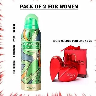 Mutual Love Perfume & Romance body Spray For Women - Pack Of 2