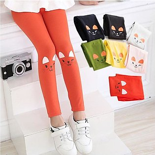 pack of 2 Baby Girl Skinny  Kids Cat Print Stretchy Leggings Trousers For Girls
