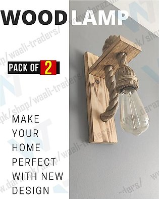 2 PCS OF Wooden Hemp Rope Wall Lamp Fixture Wall Light Unique and Vintage design