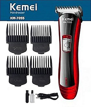 KM-7055 Shaving Machine, Rechargeable Electric Hair Trimmer + Clipper