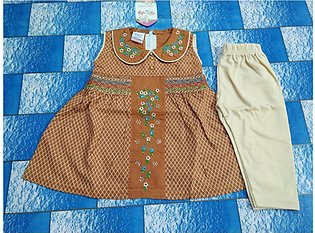 High quality dress for girls cotton frok for girls color brown