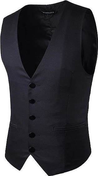 Formal Business Gentleman Slim Fit Single-breasted Pure Color Fashion Waistco...
