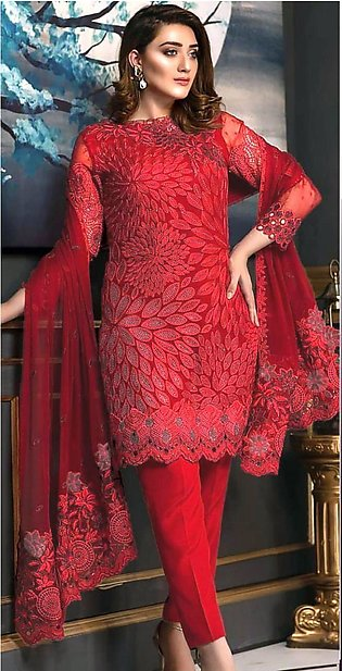 Stylish Wedding Chiffon Embroidered Suit For Women - Unstitched