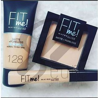 Pack of 3 Maybelline Fit Me Foundation, Pressed Face Powder & Concealer
