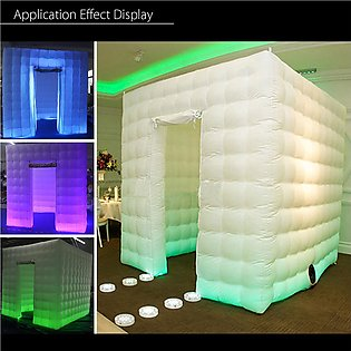 110V Inflatable LED Light Photo Booth Air Tent Wedding Party Christmas 2.5M Cube