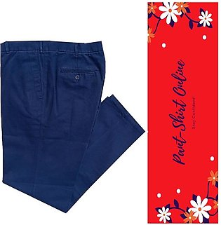 Cotton Straight Pant for Men - Regular Fit - Navy Blue