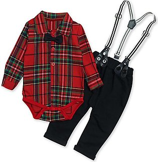 Children'S Spring Fall Boy Plaid Shirt Conjoined Jacket + Strap Pants Three Pie…