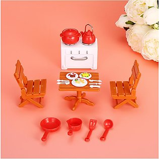 Mini doll house picnic set baby house toy set plastic doll house toy set
