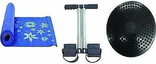 Pack Of 3 - Yoga Mat, Tummy Trimmer & Waist Twisting Disc