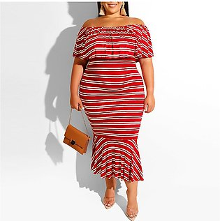 Women Dress Stripe Off Shoulder Ruffles