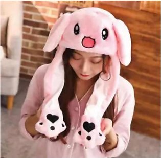 Cute Bunny Plush Hat Funny Playtoy Ear Up Down Rabbit Gift Toy for Kids Girls G…