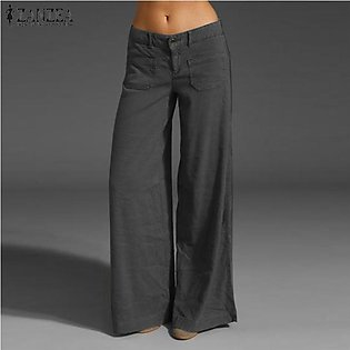 ZANZEA Women Flare Wide Leg Pants Culottes Office Ladies Palazzo Trousers