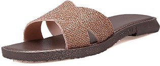 Summer Women's Ladies Fashion Bling Sequins Slipper Peep Toe Casual Shoes