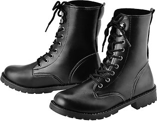 Fashion Women\'s Cool Black PUNK Military Army Knight Lace-up Short Boots Shoes