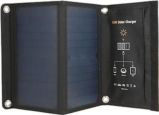 15W Foldable Solar Panel Battery Charger Power Bank with Dual USB Charging Port IP65 Water Resistance Portable for Outdoor Emergency Hiking Fishing Climbing Riding Traveling