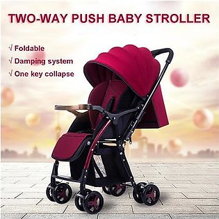 Flash Sale -- Red Baby Stroller Reclining Lightweight Folding Shock For Four Seasons Use Travel