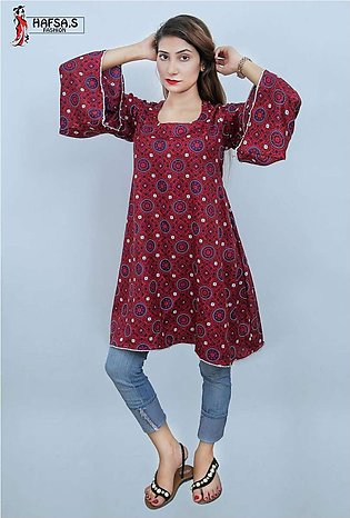 HAFSA,s FASHION Frock Style Ajrak Printed Short Kurti For Her - HF-004