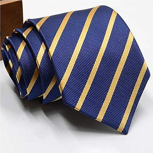 Polyester Jacquard Ties For Men, Fashion Striped Print Pattern Necktie For Wedd…