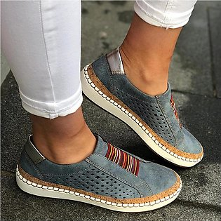Women's Fashion Casual Hollow-Out Round Toe Slip On Shoes Flat With Sneakers