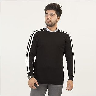 Oxford Round Neck Sweater with Striped Sleeves For Men