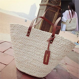 Fashion Women Summer Straw Beach Bag Totes Shoulder Shopping Bag White Handbag