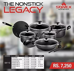 SONEX Classic Gift Pack Cookware Set - 15 Pieces - Non Stick Coating - Black