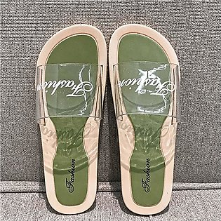 Women Transparent Word Flat Slippers Outside Wearing Sandals