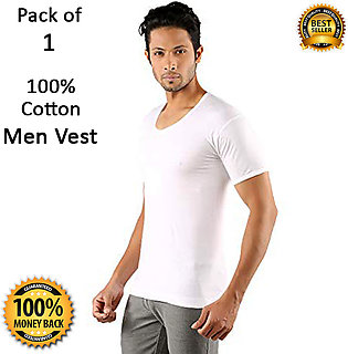Pack of 1 Pure Cotton Vest for Men with Half Sleeves Premium Quality Banyan