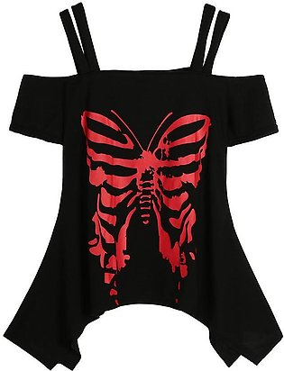 Women Butterfly Printing Off Shoulder T-Shirt Short Sleeve Casual Tops Blouse