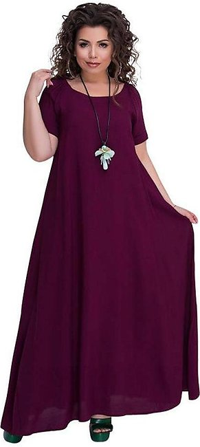 Women's Casual Dress Ladies Short Sleeve O-Neck Loose Solid Plus Size Dress