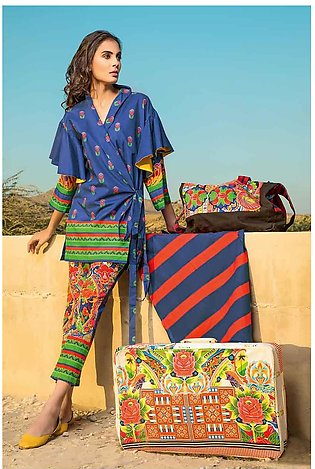 GA - GA - Gul Ahmed-Summer Collection 2019  Ink Blue Lawn-3 PC Unstitched-CL-...
