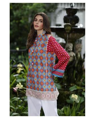 So Kamal Women Summer Collection 2019 Multi 1 PCS Pret - Printed Int:XS Lawn Shirt DPL19-555