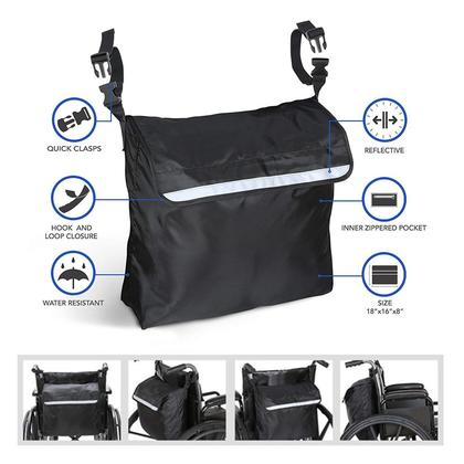 【Clearance Sale】Wheelchair Backpack Storage Bag Fits Most Scooters Walkers Electric Pouch Tote