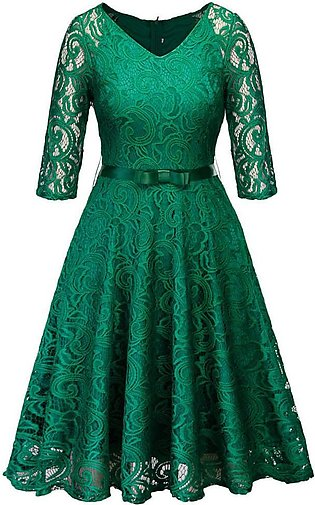 Women Lace Half Sleeve Party Dress Cocktail Prom Ballgown Fancy formal Dress