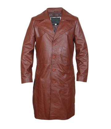 Leatherly Men, Women Will Smith Suicide Squad Waxed Brown Leather Long Coat