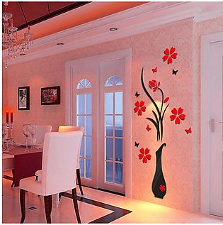 3D Decals Flower Vase Removable Home Decor Vinyl Art Wall Stickers