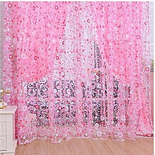 1PCS 1*2M Floral Pattern Offset Blinds Window Screen Ready Made Curtains Pink...